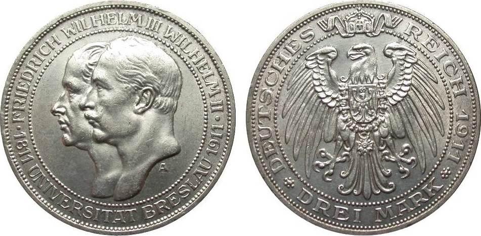 3 Mark Preussen Universität Breslau 1911 A Kaiserreich vz / vz+