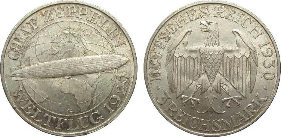 3 Mark Zeppelin 1930 G Weimarer Republik wz. Randfehler, vorzüglich / Stempelglanz