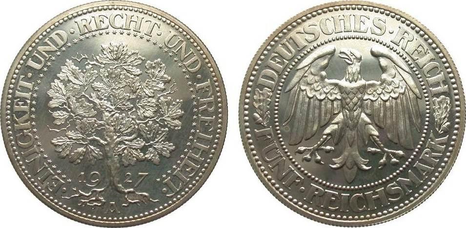 5 Mark Eichbaum 1927 A Weimarer Republik min. Haarlinien, wz. Fleck, polierte Platte