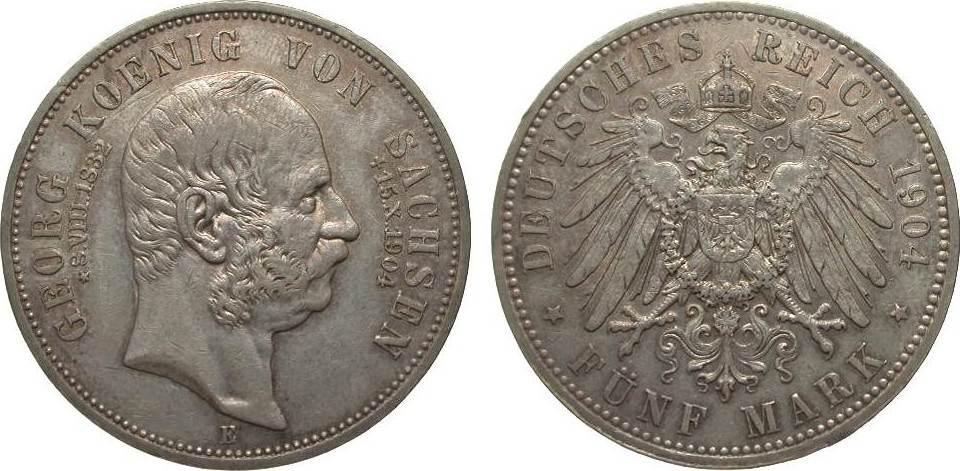 5 Mark Sachsen Georg auf den Tod 1904 E Kaiserreich sehr schön / vorzüglich