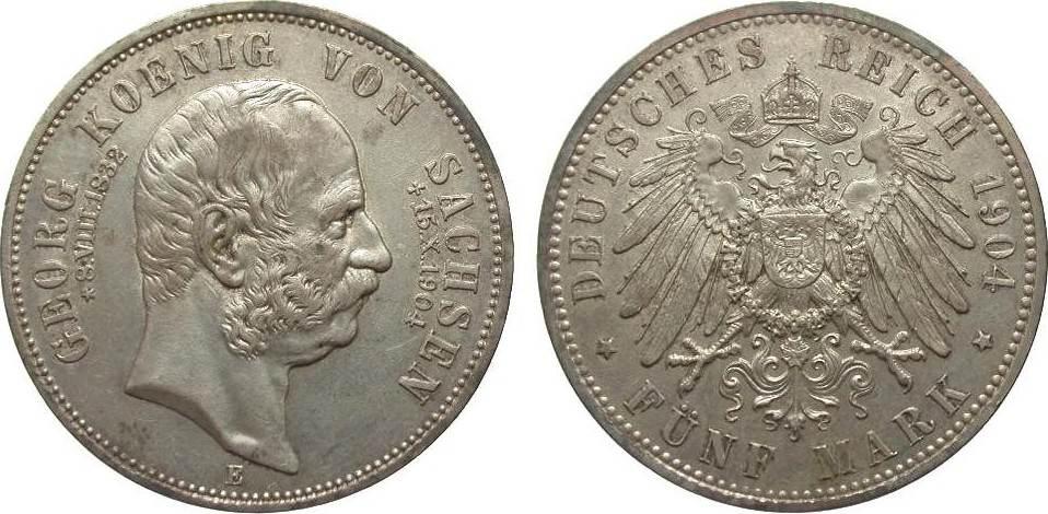 5 Mark Sachsen Georg auf den Tod 1904 E Kaiserreich fast vorzüglich / vorzüglich