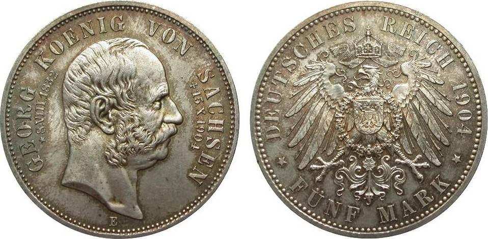 5 Mark Sachsen Georg auf den Tod 1904 E Kaiserreich Bildseite wz. Kratzer, fast Stempelglanz
