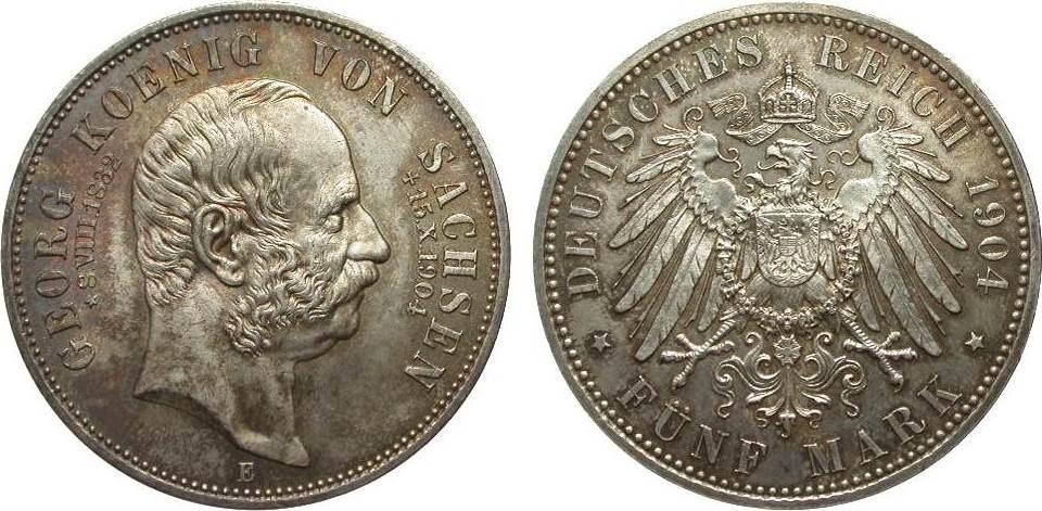 5 Mark Sachsen Georg auf den Tod 1904 E Kaiserreich fast Stempelglanz