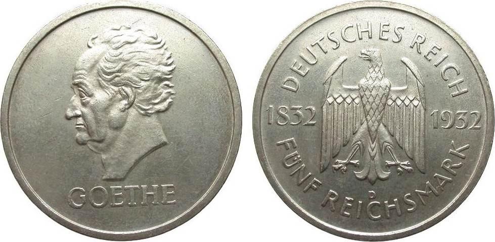 5 Mark Goethe 1932 D Weimarer Republik wz. Kratzer, vorzüglich / Stempelglanz