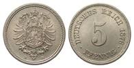 5 Pfennig 1876 D Kaiserreich  fast Stempelglanz / Stempelglanz  75,00 EUR  zzgl. 4,00 EUR Versand