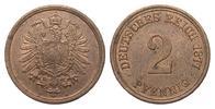 2 Pfennig 1877 A Kaiserreich  fast Stempelglanz  35,00 EUR  zzgl. 4,00 EUR Versand