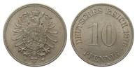 10 Pfennig 1876 F Kaiserreich  fast Stempelglanz  70,00 EUR  zzgl. 4,00 EUR Versand