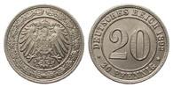 20 Pfennig 1892 G Kaiserreich  min. Randfehler, fast Stempelglanz  395,00 EUR kostenloser Versand