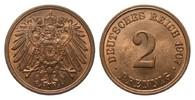2 Pfennig 1907 J Kaiserreich  kl. Kratzer, fast Stempelglanz  55,00 EUR  zzgl. 4,00 EUR Versand