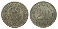 20 Pfennig 1887 G Kaiserreich  wz. Randfehler, vorzüglich  44,00 EUR  zzgl. 4,00 EUR Versand