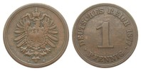 1 Pfennig 1877 A Kaiserreich  knapp sehr schön  115,00 EUR  zzgl. 4,00 EUR Versand