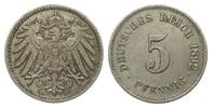 5 Pfennig 1892 G Kaiserreich  knapp vorzüglich  29,00 EUR  zzgl. 4,00 EUR Versand