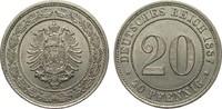 20 Pfennig 1887 G Kaiserreich  vorzüglich / Stempelglanz  95,00 EUR  zzgl. 4,00 EUR Versand