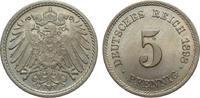 5 Pfennig 1898 F Kaiserreich  fast Stempelglanz / Stempelglanz  59,00 EUR  zzgl. 4,00 EUR Versand