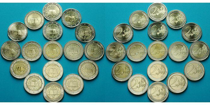 2 Euro X 17 Münzen 2007 Euroländer 50 Jahre Römische Verträge