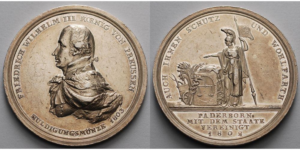Silbermedaille V Loos 18023 1802 Paderborn Stadt Huldigung