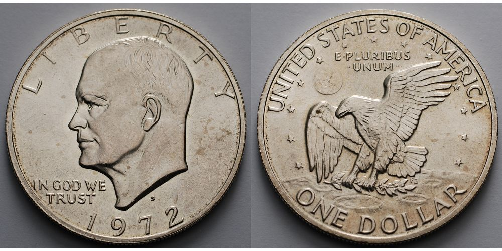 1 1972 S Usa United States Eisenhower Dollar 1971 1974 1972 S