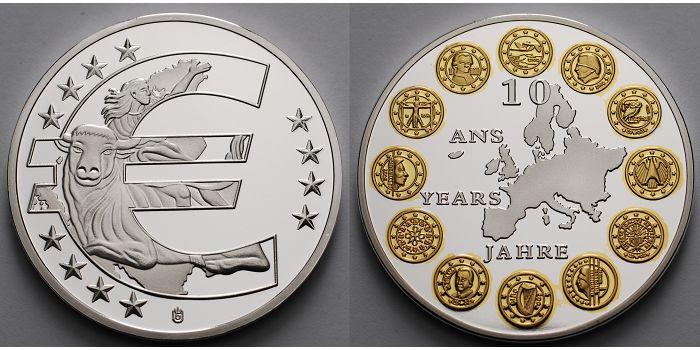 40 Mm ø 2008 Deutschland Silbermedaille 10 Jahre Euro Teilvergoldet