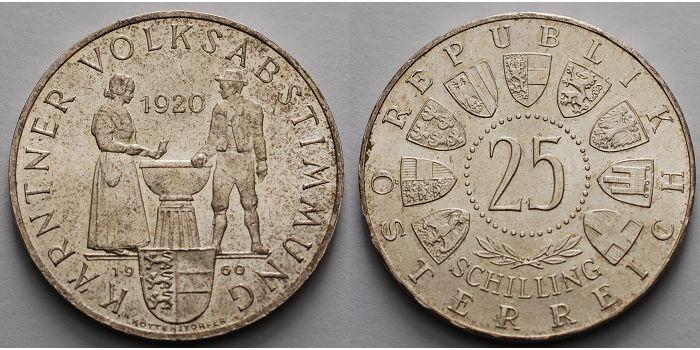 25 Schilling Br30mm ø 1960 österreich 40 Jahrestag Der