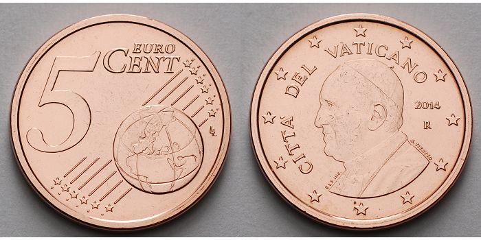 5 Cent 2016 Vatikan Kursmünze 5 Cent B Dritte Münze Papst