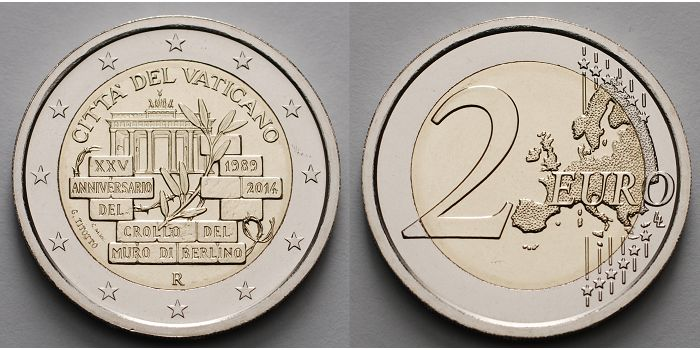 2 Euro 2014 Vatikan 25 Jahre Mauerfall In Berlin 1989 2014 2