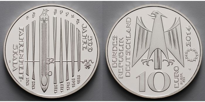 10 Eurobr 2014 Deutschland 300 Jahre Fahrenheit Skala 5 Ausg