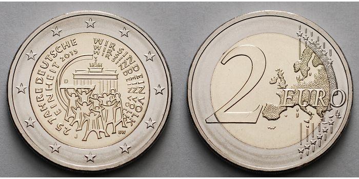 2 Euro 2015 J Deutschland 25 Jahre Deutsche Einheit Prägestätte J