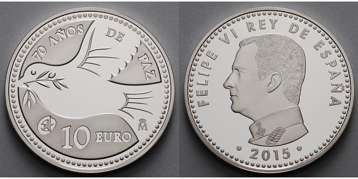 10 Euro 2015 Spanien 70 Jahre Frieden Europaprogramm Inkl Kapsel