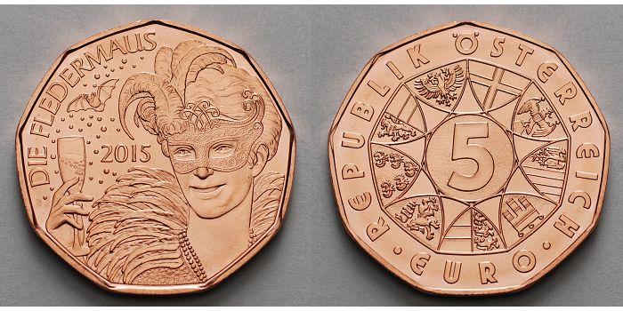5 Euro 2015 österreich Die Fledermaus Auf Die Lebensfreude