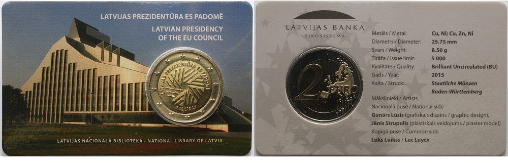 2 Euro 2015 Lettland Eu Ratspräsidentschaft Lettland Latvija