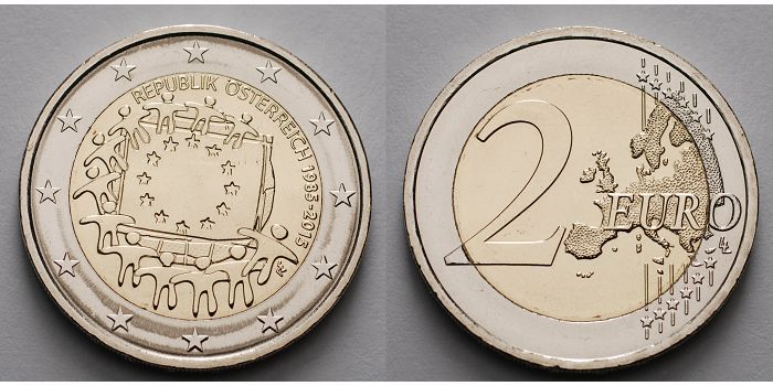2 Euro 2015 österreich 30 Jahre Eu Flagge 1985 2015 Stgl Ma Shops