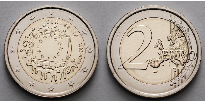 2 Euro 2015 Slowenien 30 Jahre Eu Flagge 1985 2015 Stgl