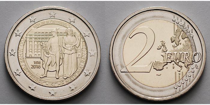 2 Euro 2016 österreich 200 Jahre österreichische Nationalbank Stgl