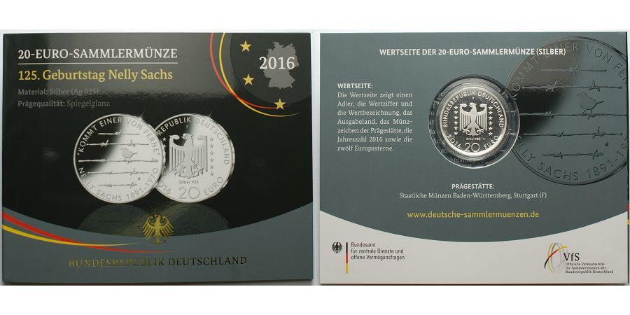 Bzweitebr20 Euro B 2016 Deutschland 125 Geburtstag Nelly