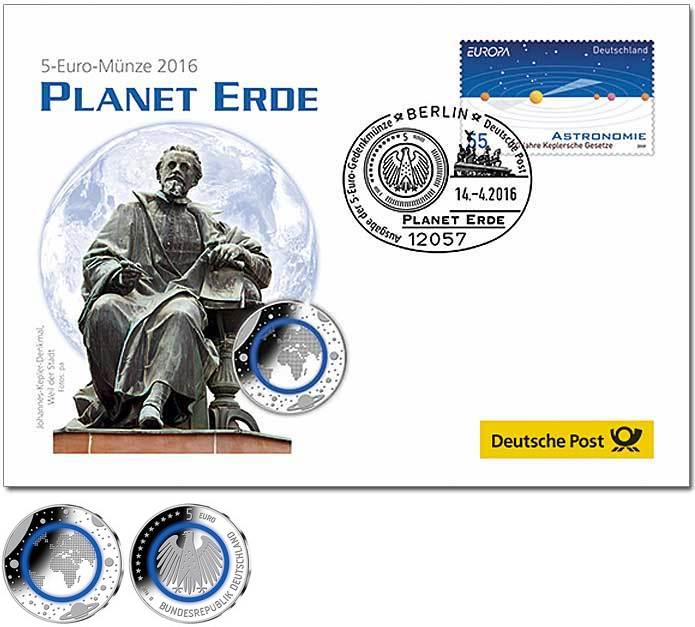 5 Euro 2016 J Deutschland Blauer Planet Erdebrbnumisbrief