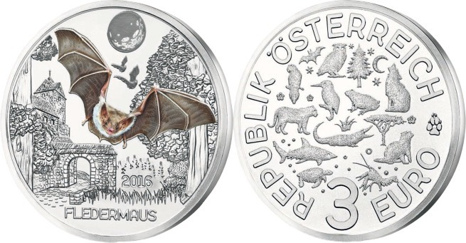 3 Euro X 10 Münzen Origverplombt 2016 österreich Tier Taler
