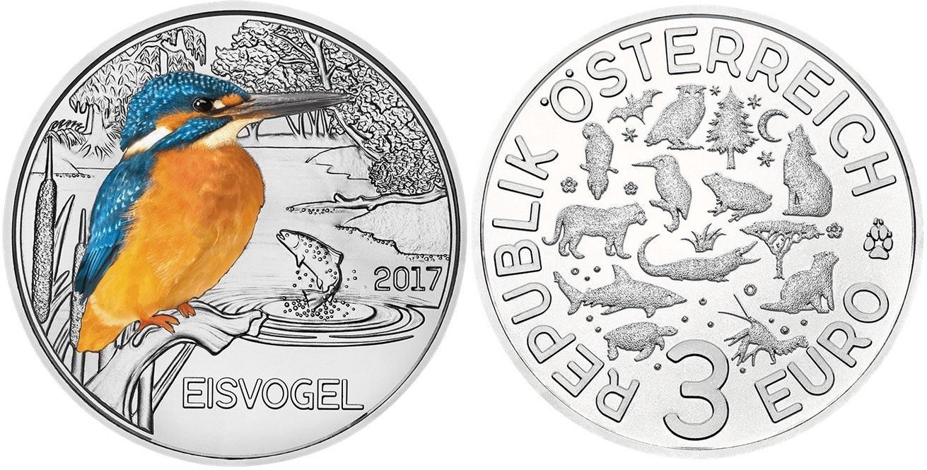 3 Euro 2017 österreich Tier Taler Serie Eisvogel B04 12