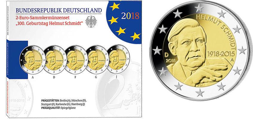 2 Eurobr 5x 2018 Adfgj Deutschland 100 Geburtstag Helmut