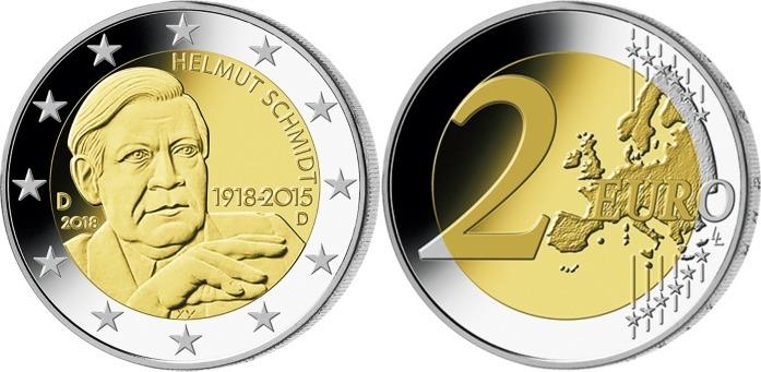 2 Euro 2018 D Deutschland 100 Geburtstag Helmut Schmidt 1918 2015