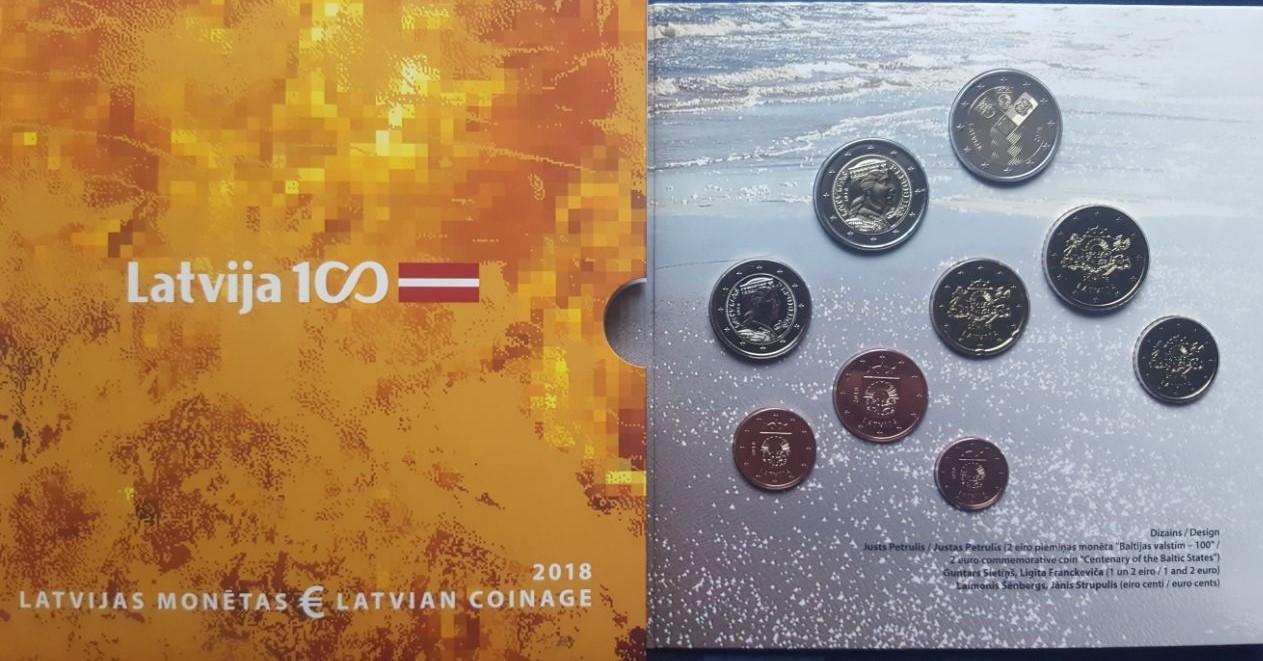 588 2018 Lettland 4amtlicher Euro Kursmünzensatz9 Münzenbmit