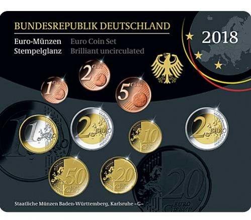 588 2018 G Deutschland Kursmünzensatz Br B Prägestätte Gb
