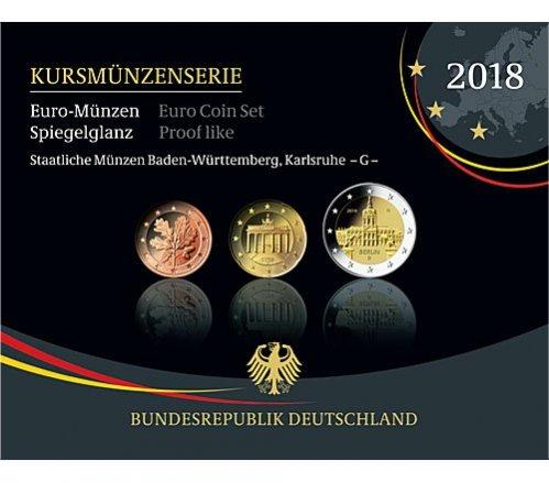 588 2018 G Deutschland Kursmünzensatz Prägestätte G Ppim Blister