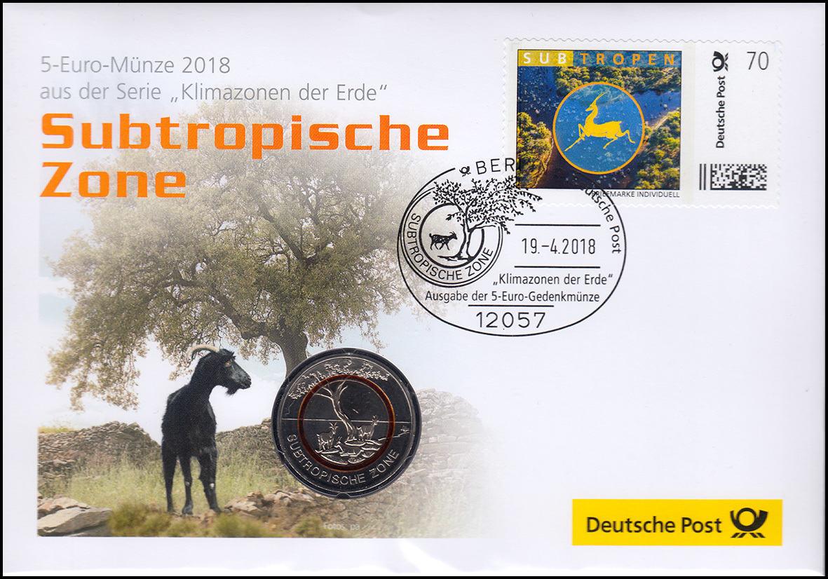 5 Euro 2018 Deutschland Subtropische Zonebr Numisbriefb