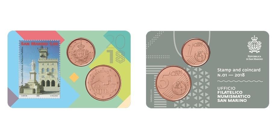 0 01 0 05 1 euro briefmarke 2018 san marino coincard 2018 mit 1 5 cent kursm nze 1