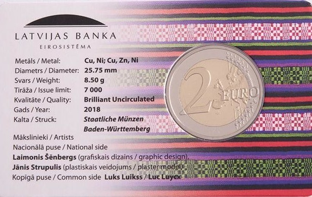 2 Euro 2018 Lettland Zemgalesemgallen Provinzen Regionen