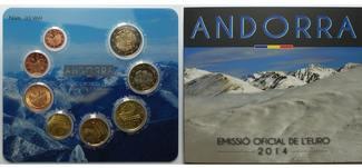 3,88 € 2014  Andorra 1.amtlicher Euro Kursmünzensatz, mit allen 8 Münzen,  Sommerangebot !!! stgl. im Blister