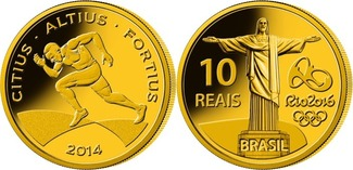 10 Reais 2014  Rio Oly. Sommer Rio 2016 - Laufen 01/04, in orig.Oly. Kapsel m. Zertifikat  PP  Gold