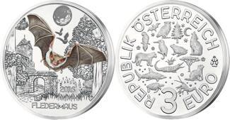 3 Euro 2016  Österreich Tier - Taler - Serie -Fledermaus-, 01 / 12 Ausgaben, handgehoben hgh  /    vz / stgl  Silber  farbig