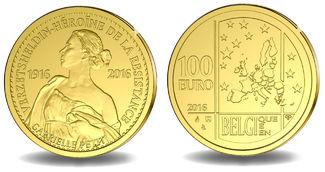 100 Euro 15,55g   fein  29 mm Ø 2016  Belgien Gabrielle Petit 1916 / Nationalheldin, mit Kapsel im Etui & Zertifikat & Schuber PP
