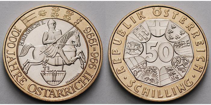 50 Schilling 1996 österreich 1000 Jahre österrreich Heinrich I Markgraf D Bayerischen Ostmark 994 1018 Stu Stgl Glanz